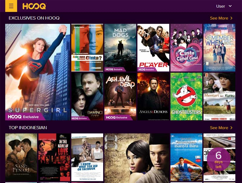 koleksi film dan serial tv di Hooq